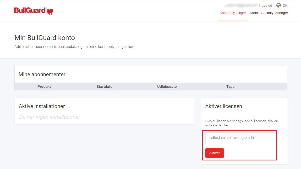 012b4be0 Du har nu registreret din licens til din BullGuard konto og du kan nu se  oplysninger vedrørende dit nye abonnement, som for eksempel antal dage, ...