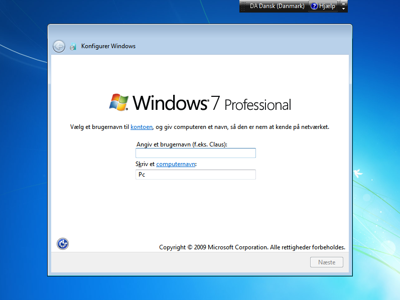 Installation og aktivering af Windows 7